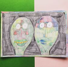 Original Drawing by Jay Snelling. Outsider Art Brut. Rainbow Couple. LGBTQIA