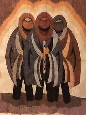 "Woven Wall Hanging Spanish Guacho's Hand Woven Rug Peruvian Tapestry 41"" x 45"""