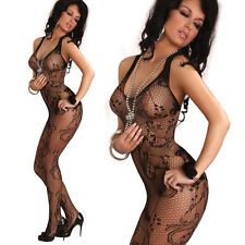 Hen Party Lingerie Fishnet Catsuit Tights Catsuit Body Stocking plunge neck 94U