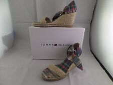 Tommy Hilfiger Womens Wedge Shoes Plaid peep toe tie ankle Constance Madras 6.5M