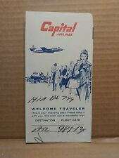 1950s Capital Airlines Ticket Folder Vintage Aviation Airplane Graphics