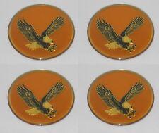 """SET OF 4 GOLD BIRD EAGLE LOGO WHEEL RIM CENTER CAP ROUND DECAL STICKER 2"""" / 50mm"""