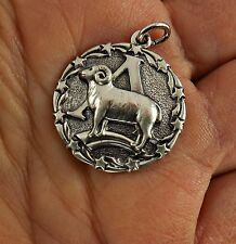 Vtg 60's Signed ORB Otto R. Bade Sterling Silver Zodiac Aries Ram Pendant Charm