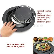 OD: 32cm Iron Portable Korean BBQ Barbecue Grill Non Stick Gas Stove Pan Plate