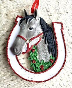 Personalised Grey Horse Christmas Tree Decoration Bauble Xmas 2020