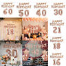 Rose Gold Happy Birthday Bunting Banner Balloon 18/21st/30/40/50/60th Decoration