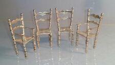 Four miniature German solid silver high backed chairs barley twist legs