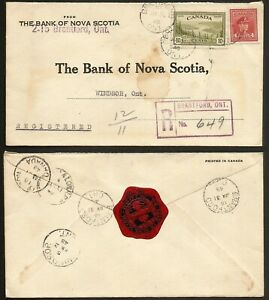 1948 Registered Reply Cover 14c War/Peace CDS Brantford Ont to Windsor Bank Seal