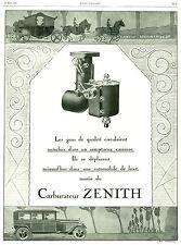 """Publicité Ancienne """" Carburateur Zénith  1927 ( P. 22 )"""