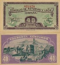 40 Céntimos. Consejo de Asturias y León. Sin serie. Nº 021878. Tamaño 92x45 mm.
