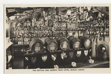 Festival Bar Queens Head Hotel Burley RP Postcard  216a