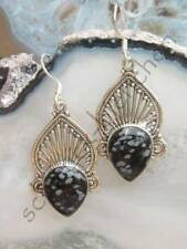 Earring Compartments SNOWFLAKES OBSIDIAN STONE D Aztec Sterling Silver 925