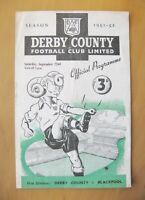 DERBY COUNTY v BLACKPOOL 1951/1952 *Good Condition Football Programme*
