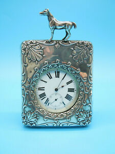 ANTIQUE SILVER WATCH CASE WITH HORSE DECORATION. BIRMINGHAM 1901 (L&S)