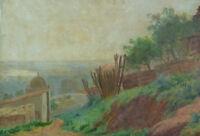 Beau tableau ancien Paysage Orientaliste Mosquée Algérie  Shonborn American art