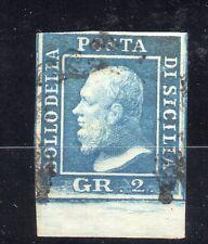 ANTICHI STATI 1859 SICILIA 2 GR. BORDO IN BASSO III° TAVOLA POSIZ 94 D/9934