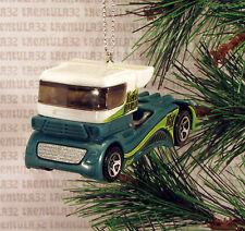 BIG RIG SEMI TRACTOR CAB GREEN WHITE RACE TRUCK RACING CHRISTMAS ORNAMENT XMAS