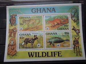 S32  GHANA  1977  WWF  FAUNA  MI BL.71  MNH