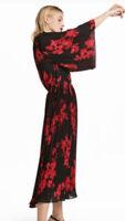 Stunning Red/Black Floral Roses Angel Sleeve Midi Dress 70's Vintage Boho Style