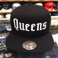 "Mitchell & Ness ""Queens"" Snapback Hat Cap Black/White jordan retro 1 high hi og"