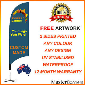 CUSTOM MADE Deluxe Personalised Double Sided Feather Bow Banner Flag Business