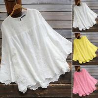 ZANZEA 8-24 Women Summer 3/4 Sleeve Eyelets Floral Top Tee T Shirt Cotton Blouse