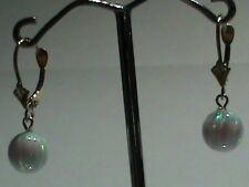 14kt Gold Leverback Earrings w/ SUPER Bright Firey 8 MM Created Opal Ball Drops!