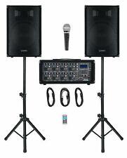 DJ PA Anlage Gesangsanlage 8-Kanal Powermixer Bluetooth MP3 USB SD Zubehör 150W