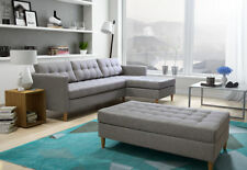 CORNER SOFA BED WHITH FOOTSTOOL STORAGE-QUEST