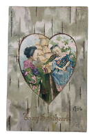 Asian CHILD With Doll in a Gold Heart on a Woodgrain VALENTINE Postcard 1906