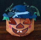 Metal Pumpkin Jack-o-lantern Tea light Candle Holder Halloween Patch Folk Art