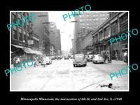 OLD LARGE HISTORIC PHOTO OF MINNEAPOLIS MINNESOTA, VIEW OF 6th & 2nd AVE c1940