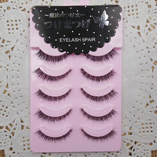 5 Pairs Magic Natural Cross False Eyelashes Cute Eyelashes Beauty Makeup Tool
