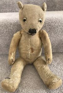 Antique Vintage Mohair Jointed Teddy Bear British C.1930s Well Loved