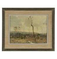 """Chauncey F. Ryder Signed Oil Painting """"Winter Landscape"""" Framed RARE"""