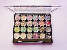 Saffron 24 Color Paleta de Sombra de ojos y Brillo Gel Redondo 02 Oferta Especial