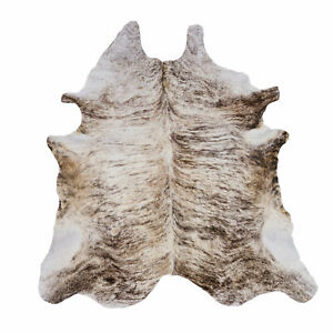 """Real Cowhide Rug, exotic Light Brindle, Top Quality, Large Size, Size 80"""" by 60"""""""