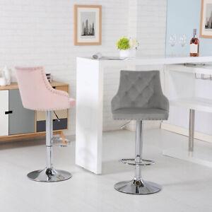 1/2x Breakfast Bar Stools Bar Chairs Velvet Chrome Base Swivel Adjustable Chair