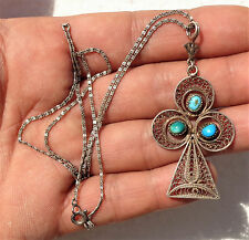 Old silver filigree pendant and necklace with Turquoise