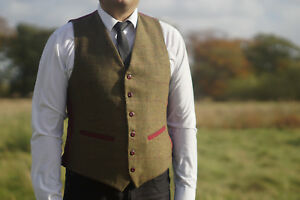 Mens Milano Tweed Waistcoat Check S to XXL Vintage Tailor Fit