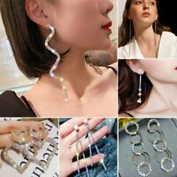 Luxury Geometric Round Earrings Crystal Hoop Earrings Fashion Jewelry Women Gift