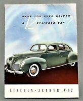 """ORIGINAL 1938 LINCOLN ZEPHYR V-12 SALES FOLDER ~8 PAGES ~ 8.5"""" X 11"""" ~ 38LZEPH"""