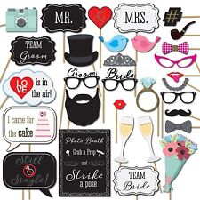 31 PCS Colorful Wedding Party Decorations Photo Booth Props (NO DIY Required)