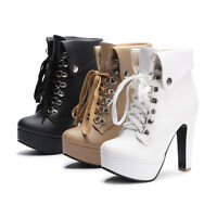 Womens Punk Lace Up High Block Heels Booties Fashion Platform Ankle Boots Shoes