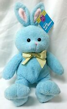 Bunny Rabbit Plush Blue Pastel Buddy Yellow Bow Pink Ears Soft Terry 11.5""
