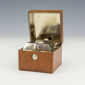 Antique Tan Tooled Leather - Chrome Lined Pocket Travel Inkwell