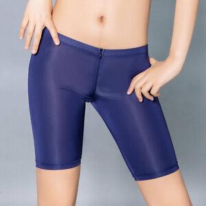 Women Satin Shiny Stretch Short Pants Leggings Full Length Zip Shorts Underpants