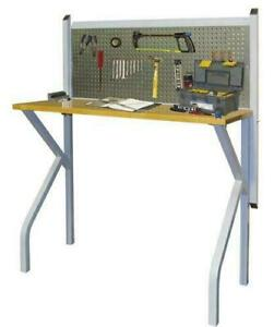 """47"""" Silver Steel Wall Mounted Collapsible Work Bench Butcher Block Pegboard NEW"""