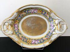 Superbe plat bannette à pain décor floral PORCELAINE LIMOGES PARIS 1900 Louis XV
