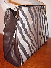 Coach Madison Zebra Print 26636 Multi Brown Purse w/Scarf $278 NWT